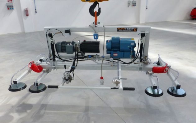 Ventosa per lamiera 8 piastre telescopica con basculamento con pistoni e pompa vuoto elettrica